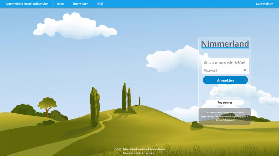 Screenshot der Startseite der Testinstallation von Nimmerland Nextcloud Basic