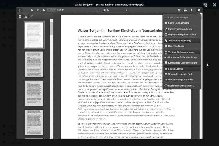 Screenshot des Nextcloud PDF-Betrachters. Im rechts eingeblendeten Menü lassen sich verschiedene Optionen der Darstellung auswählen.