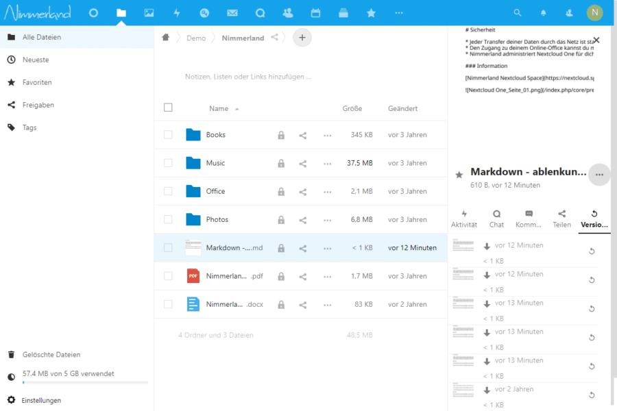 Screenshot der Ordner und Datei-Ansicht mit geöffneter rechter Seiteleiste.