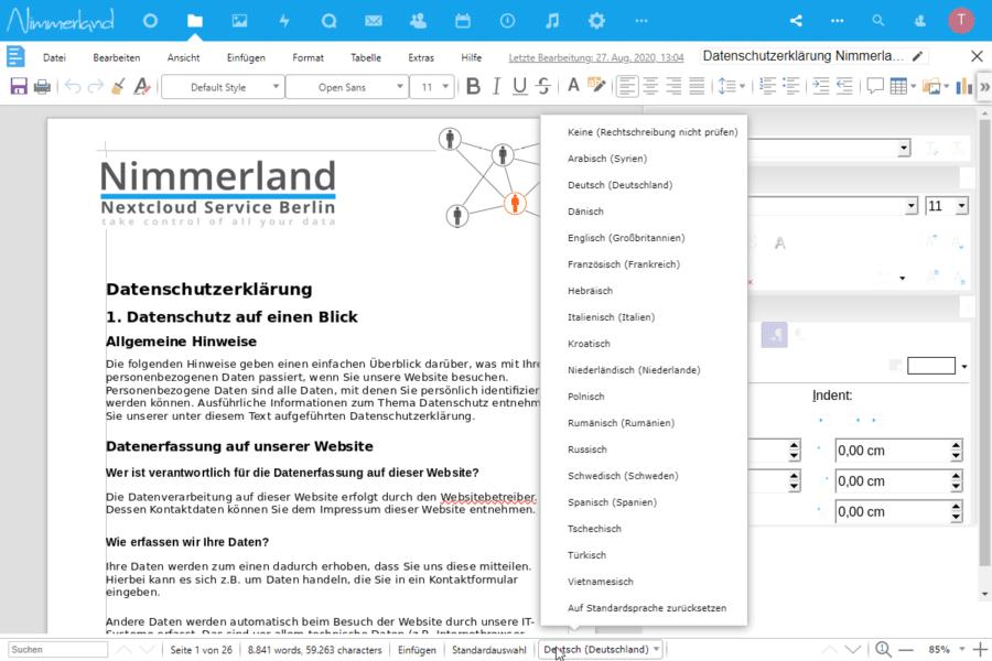Screenshot des optionalen Collabora Online-Office. Hier die Textverarbeitung mit Ansicht der 18 Sprachen der Rechtschreibkorrektur.