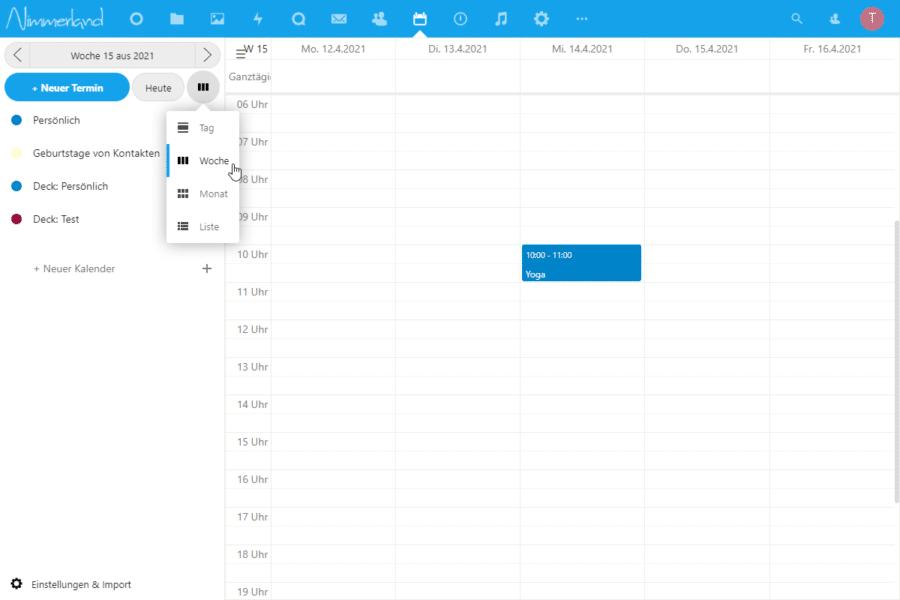 Screenshot einer Nextcloud-Kalender-Ansicht. Der Mauszeiger zeigt auf die Auswahl von Monats-, Wochen- und Tagesansicht.