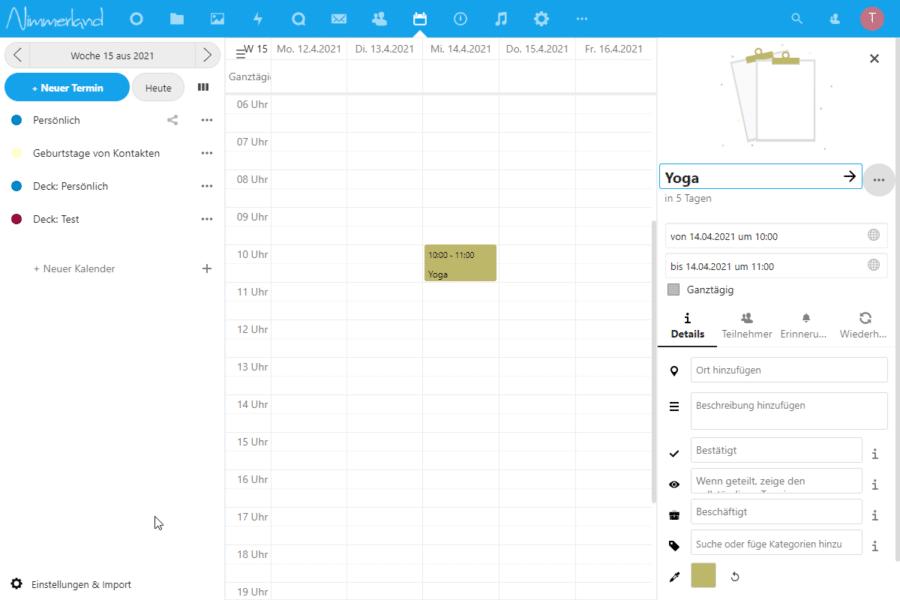 Screenshot einer Nextcloud-Kalender-Ansicht mit dem Eingabefeld für neue Termine.