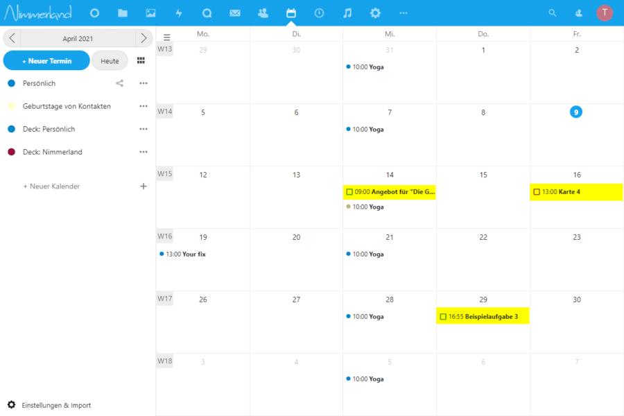 """Screenshot einer Nextcloud-Kalender-Ansicht. Es werden auch Termine aus dem Projektplanungstool """"Deck"""" und der """"Aufgabenverwaltung"""" angezeigt."""