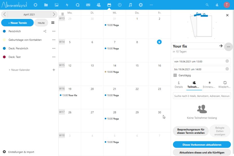 """Screenshot einer Nextcloud-Kalender-Ansicht. In Verbindung mit """"Talk"""" lassen sich Besprechungsräume gleich aus dem Kalender erstellen."""
