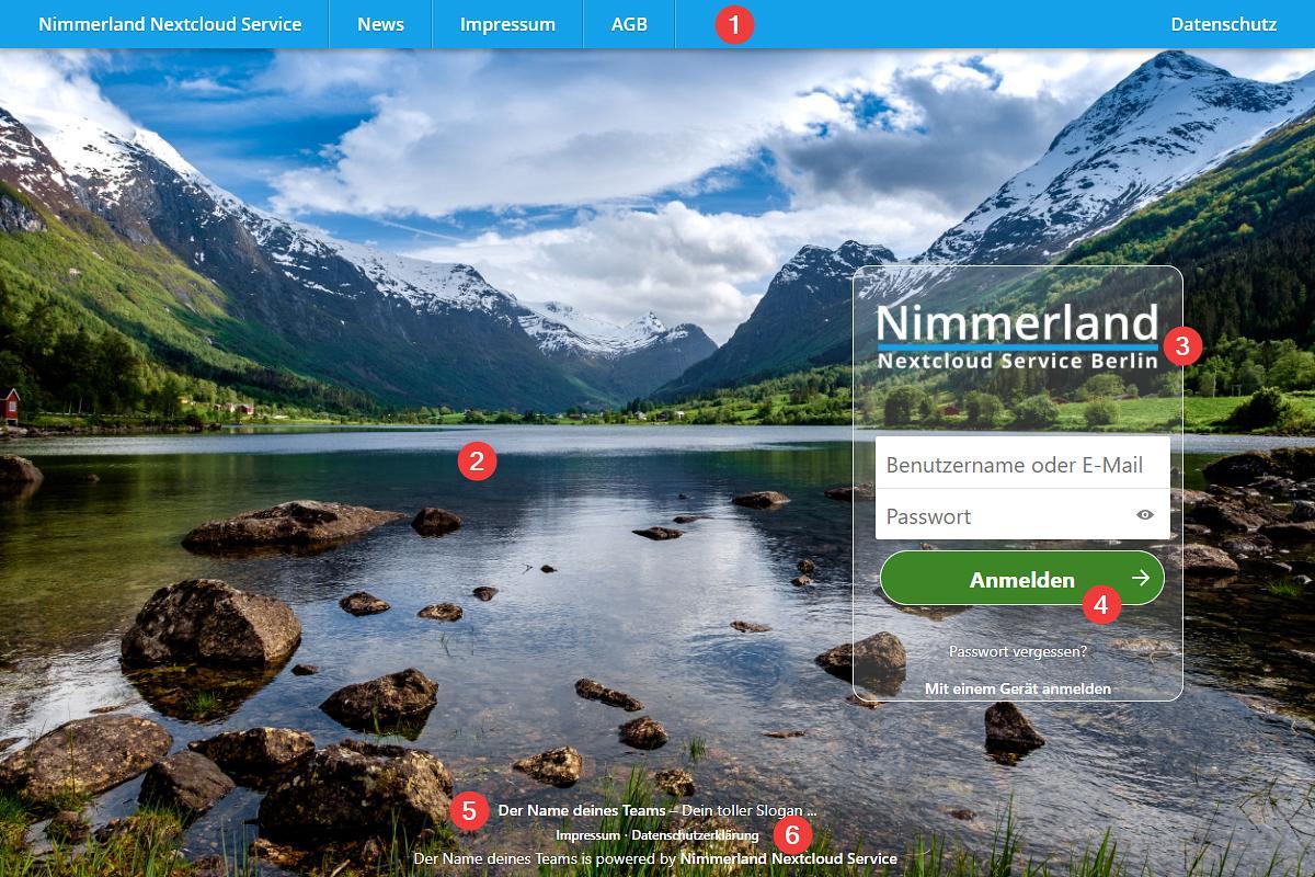 Screenshot einer Nextcloud Startseite mit individuellem Theming